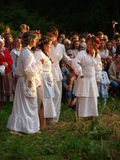Rites of the Night of St. John, Lublin, Poland. Young people singing and dancing around a bonfire as part of the rites of St. John's Night, a Polish (and Slavic Stock Images