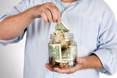 Ritirando il libretto di risparmio costituisce un fondo per i concetti Immagine Stock Libera da Diritti