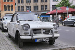 Ritish retro car Triumph in the Mitte district Royalty Free Stock Photography