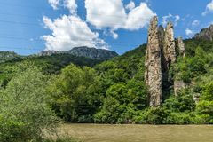 Ritlite - rock formations at Iskar River Gorge, Balkan Mountains, Bulgaria. View of Ritlite - rock formations at Iskar River Gorge, Balkan Mountains, Bulgaria royalty free stock photos