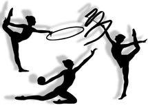 Ritmisch gymnastieksilhouet Stock Afbeeldingen