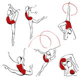 Ritmische gymnastiek. vastgestelde cijfers Royalty-vrije Stock Foto's