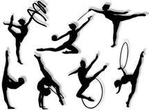 Ritmische gymnastiekoefeningen Stock Afbeelding