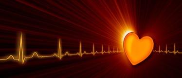 Ritmo cardíaco con el gráfico de ECG en el ciberespacio Foto de archivo