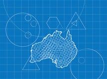 Ritning av Australien översikter Arkivfoto