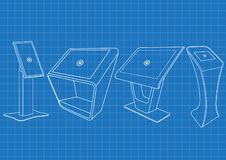 Ritning av den befordrings- växelverkande kiosket för information som fyra annonserar skärm, slutlig ställning, pekskärmskärm royaltyfri illustrationer