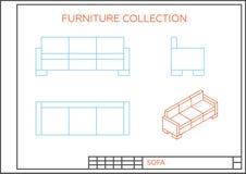Ritning av en soffa Stock Illustrationer