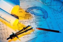 Ritning av ett hus. konstruktion Royaltyfria Foton