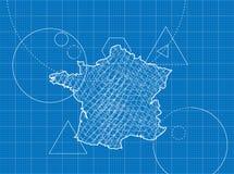 Ritning av Frankrike översikter Arkivfoto
