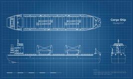 Ritning av lastfartyget på vit bakgrund Överkant, sida och främre sikt av tankfartyget Industriell teckning för behållarefartyg stock illustrationer