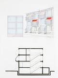 Ritning av modern byggnad Arkivfoto