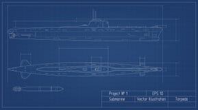 Ritning av ubåten Militärt skepp Slagskeppmodell teckna som är industriellt Krigsskepp i översiktsstil royaltyfri illustrationer