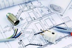 Ritning för ett hus. elektriskt Fotografering för Bildbyråer