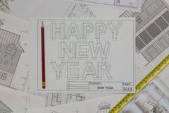 Ritning för lyckligt nytt år Fotografering för Bildbyråer