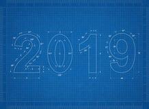 ritning för nytt år 2019 royaltyfri illustrationer