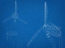 Ritning för vindturbin Arkivbild