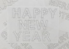 Ritningar för nytt år Arkivfoto
