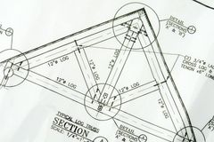 ritningar returnerar nytt plan för hus Arkivbild