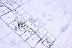 ritningar stänger upp husplan Royaltyfri Bild