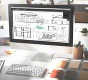 RitningarkitektConstruction Project Sketch begrepp Royaltyfria Foton