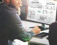 RitningarkitektConstruction Project Sketch begrepp Arkivbilder