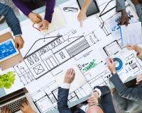 RitningarkitektConstruction Project Sketch begrepp Arkivfoton