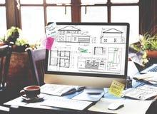 RitningarkitektConstruction Project Sketch begrepp Fotografering för Bildbyråer