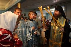 Rito en la iglesia ortodoxa Fotos de archivo