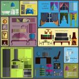 Ritocco della Camera infographic Elementi interni piani stabiliti per cre illustrazione vettoriale