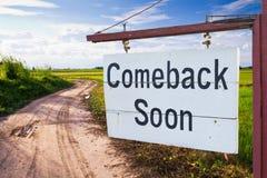 Ritornato presto Fotografia Stock Libera da Diritti