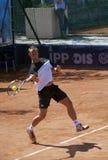 Ritorno del giocatore di tennis un ball-3 Fotografia Stock Libera da Diritti