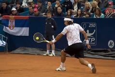 Ritorno di Lopez del giocatore una sfera Fotografia Stock