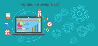 Ritorno su investimento, redditi da investimento, utile netto, su programma, il riuscito volume d'affari dei fondi collocati Il c illustrazione di stock