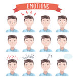 Ritratti bei di emozioni dell'uomo illustrazione vettoriale