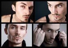 Ritratti del primo piano del fronte dell'uomo. Collage. Immagine Stock