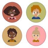 Ritratti della malattia della pelle di vitiligine dei bambini illustrazione vettoriale