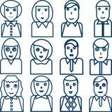 Ritratti descritti di vettore dell'illustrazione di vettore degli impiegati di concetto Fotografia Stock Libera da Diritti