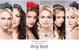 Ritratti di giovani e belle donne in gioielli Fotografia Stock Libera da Diritti