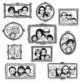 Ritratti disegnati a mano svegli della famiglia Immagine Stock