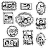 Ritratti disegnati a mano svegli della famiglia Immagini Stock