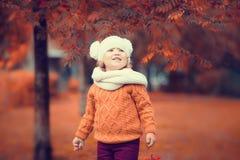 Ritratto adorabile della ragazza del bambino il bello giorno di autunno Immagini Stock Libere da Diritti