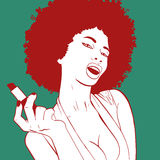 Ritratto africano sexy della donna che fa il suo trucco Ritratto della ragazza di Pop art Immagine Stock