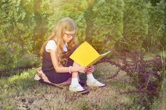 Ritratto all'aperto della scolara che si siede sul taccuino della scuola della lettura dell'erba Inizi la scuola immagine stock libera da diritti