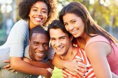 Ritratto all'aperto di giovani amici divertendosi nel parco Fotografia Stock Libera da Diritti