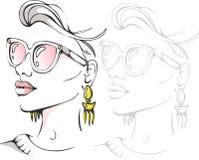 Ritratto alla moda del fronte della ragazza di modo - Vector l'illustrazione Fotografia Stock