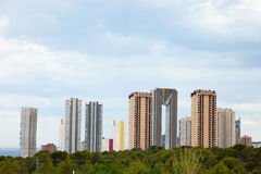 Ritratto alto moderno della costruzione della città Fotografia Stock