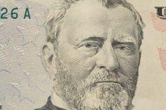 Ritratto americano di presidente sulle banconote in dollari Ulysses Simpson Gra Fotografia Stock