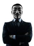 Ritratto anonimo della siluetta del gruppo mascherato uomo Fotografie Stock Libere da Diritti