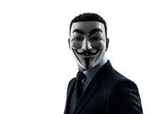 Ritratto anonimo della siluetta del gruppo mascherato uomo Fotografia Stock