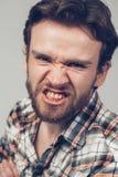 Ritratto arrabbiato dell'uomo della barba Immagine Stock Libera da Diritti